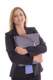 Happy young business woman holding laptop Royalty Free Stock Photography