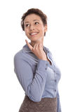 Happy young business woman - isolated smiling in blue blouse and Stock Images