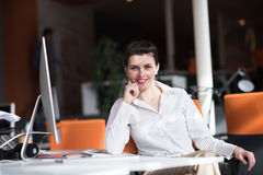 Happy young business woman relaxing and geting insiration Stock Images