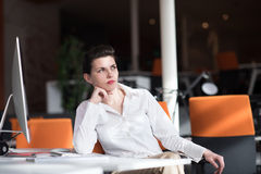 Happy young business woman relaxing and geting insiration Royalty Free Stock Photography