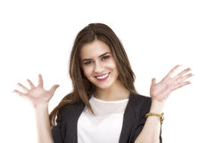 Happy young business woman showing copy space on her palm Royalty Free Stock Photos