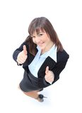 Happy young business woman singing ok Stock Photo