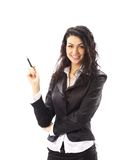 Happy young business woman smiling isolated Royalty Free Stock Photo