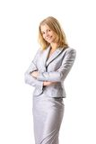 happy young business woman smiling isolated Stock Photo