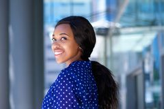 Happy young business woman smiling outdoors Royalty Free Stock Photography