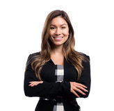 Happy young business woman. On a white background Stock Images
