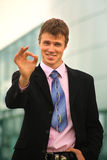 Happy young businessman Royalty Free Stock Photos