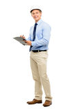 Happy young businessman architect planning ahead isolated on whi. Happy young businessman architect planning ahead Royalty Free Stock Image