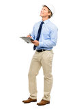 Happy young businessman architect planning ahead isolated on whi Royalty Free Stock Image