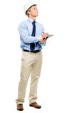 Happy young businessman architect planning ahead isolated on whi Royalty Free Stock Photography