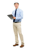 Happy young businessman architect planning ahead isolated on whi Stock Image