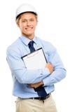 Happy young businessman architect smiling isolated on white back Royalty Free Stock Image