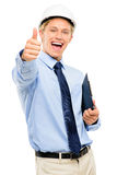 Happy young businessman architect thumbs up isolated on white ba Royalty Free Stock Photography