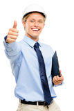 Happy young businessman architect thumbs up isolated on white ba. Happy young businessman architect showing thumbs up Royalty Free Stock Images