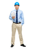 Happy young businessman architect on white background. Happy young businessman architect holding blueprints Royalty Free Stock Images