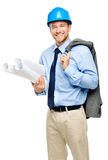 Happy young businessman architect on white background Royalty Free Stock Image
