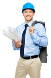 Happy young businessman architect on white background Royalty Free Stock Photo
