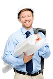 Happy young businessman architect on white background Royalty Free Stock Photos