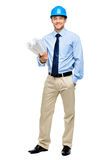 Happy young businessman architect on white background. Happy young businessman architect holding blueprints Stock Photo