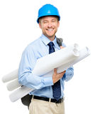 Happy young businessman architect on white background Stock Image