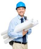 Happy young businessman architect on white background. Happy young businessman architect holding blueprints Stock Image