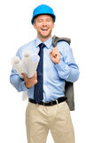 Happy young businessman architect on white background. Happy young businessman architect smiling Royalty Free Stock Photos