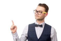 Happy young businessman holding forefinger up isolated on white Stock Image
