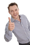 Happy young businessman - isolated with a blue shirt - thumbs up Royalty Free Stock Images