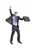 A happy young businessman jumping Royalty Free Stock Image