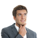 Happy young businessman looking up Royalty Free Stock Images