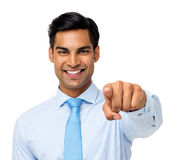 Happy Young Businessman Pointing At You Royalty Free Stock Photos