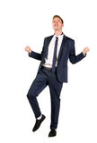 Happy young businessman raised fists Stock Image