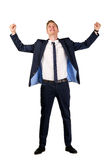 Happy young businessman raised fists. On white Stock Image