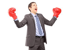 Happy young businessman in suit with red boxing gloves gesturing Stock Images