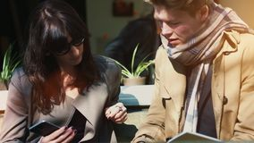 Happy young businesspeople outdoors stock footage