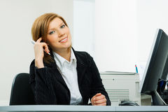 Happy young businesswoman. Stock Photo