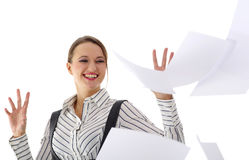 Happy young businesswoman. Over white background royalty free stock images