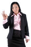 Happy young businesswoman. Young, Asian businesswoman, happy and successful, wearing lady's suit and shirt Stock Image