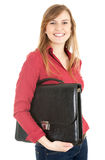 Happy young businesswoman with black briefcase Royalty Free Stock Photography