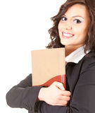 Happy young businesswoman with book Royalty Free Stock Photography