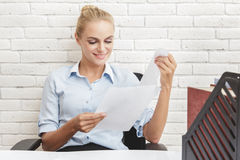 Happy young businesswoman enjoy doing her job Royalty Free Stock Photo