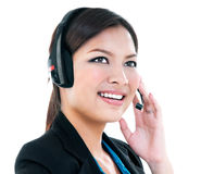 Cute Businesswoman With Headset Royalty Free Stock Photo
