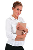 Happy Young Businesswoman Holding a Clipboard Royalty Free Stock Photos