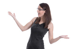 Happy young businesswoman isolated in a black dress. Royalty Free Stock Images
