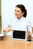 Happy young businesswoman using tablet Royalty Free Stock Images