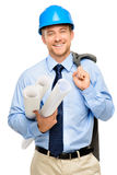 Happy young bussinessman architect on white background Royalty Free Stock Photo