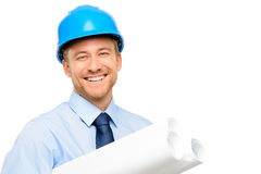 Happy young bussinessman architect on white background Royalty Free Stock Photography