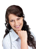 Happy young call centre employee smiling on white Royalty Free Stock Photography