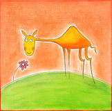 Happy young camel, child's drawing, watercolor painting Royalty Free Stock Photography