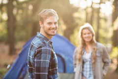 Happy young camper couple smiling Royalty Free Stock Photo